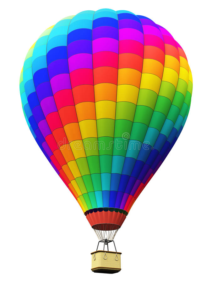 上色彩虹热空气气球被隔绝在白色背景 皇族释放例证