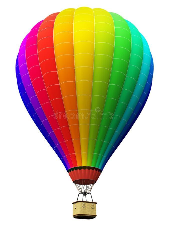 上色彩虹热空气气球被隔绝在白色背景 向量例证