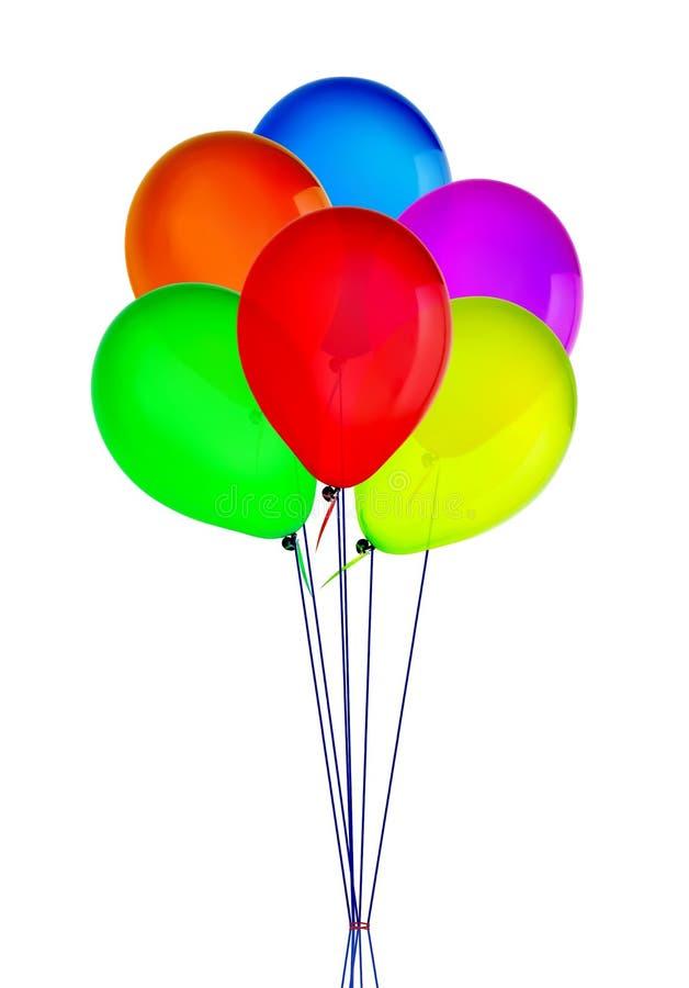 上色愉快的假日空气飞行气球被隔绝在白色 免版税库存照片