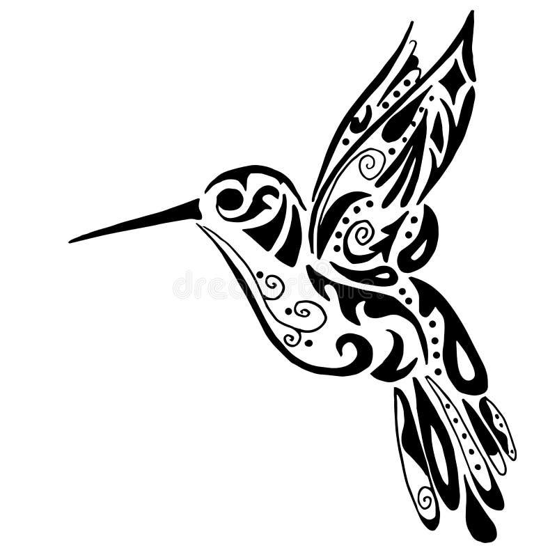 上色或纹身花刺的蜂鸟 库存例证