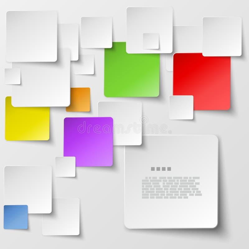 上色方形的瓦片抽象传染媒介背景 库存图片