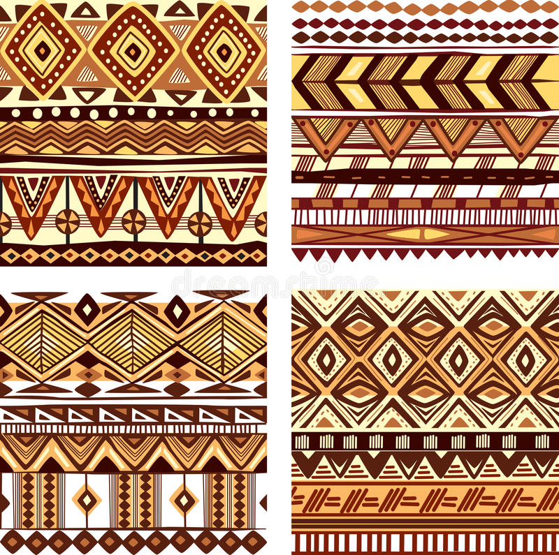 上色无缝的部族纹理 向量例证