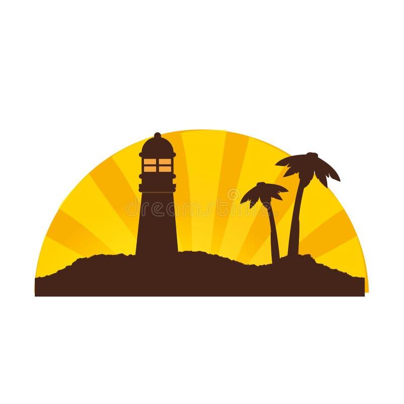 上色日落剪影在海岛上的有灯塔和棕榈树的 皇族释放例证