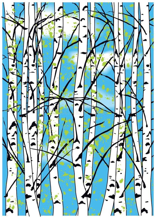 上色桦树和蓝天的传染媒介例证与白色云彩 免版税库存照片