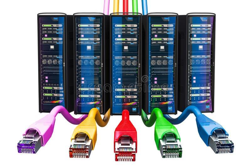 上色概念连接数连接互联网被标记插入路由器 计算机有lan inte的服务器机架 向量例证