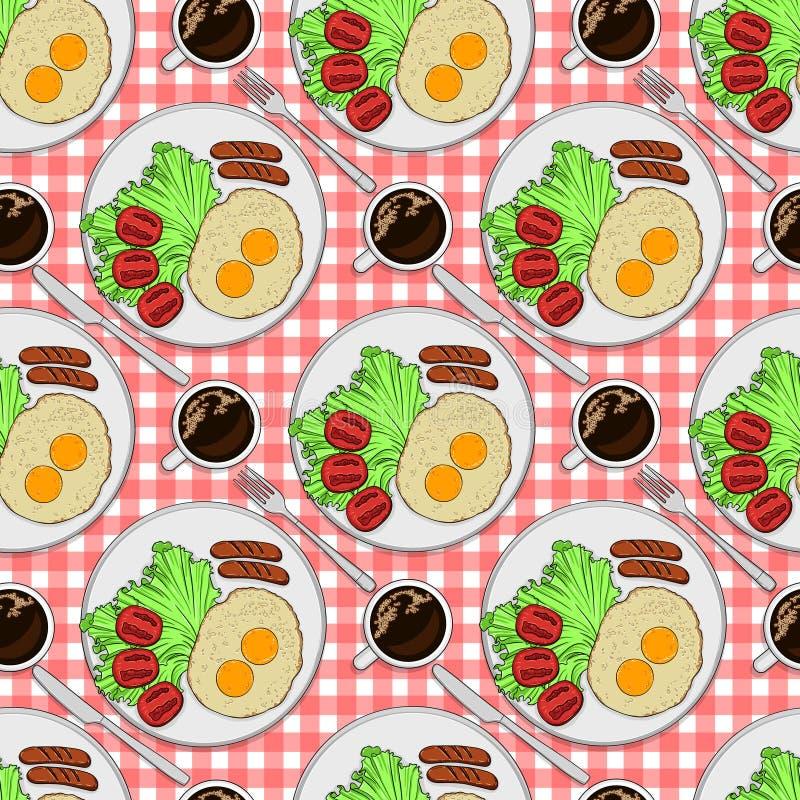 上色模式无缝 板材有早餐顶视图 荷包蛋用香肠和蕃茄和无奶咖啡 向量例证