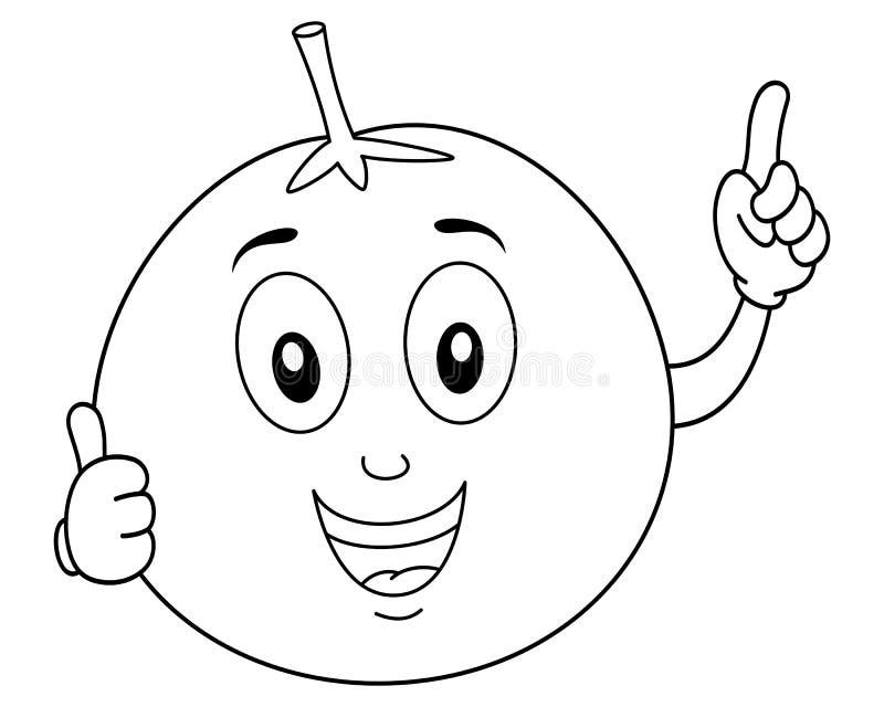 上色橙色漫画人物微笑 库存例证