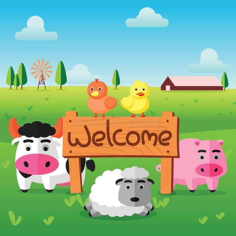 上色母牛猪母鸡鸭子平的农场,并且绵羊在与受欢迎的木板的绿色领域站立 皇族释放例证