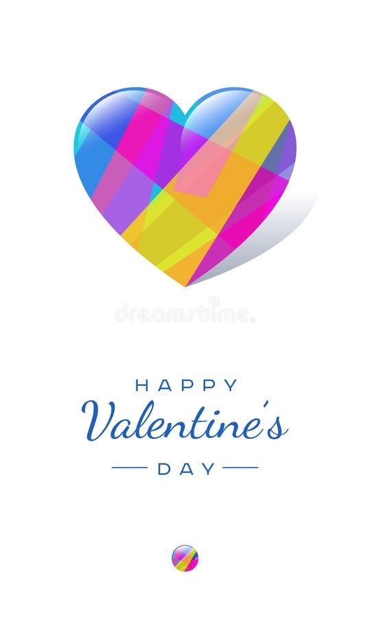 上色水晶心脏和字法在白色背景 Valentine's明信片 皇族释放例证