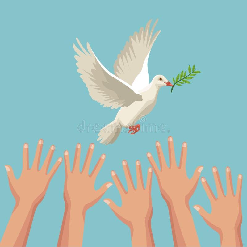上色海报手和鸽子和平标志与橄榄树枝在峰顶 库存例证