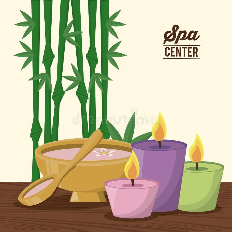 上色温泉中心海报与竹植物的和套蜡烛和碗 皇族释放例证