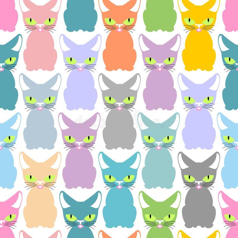 上色猫无缝的纹理 逗人喜爱的猫的样式 宠物背景 库存例证