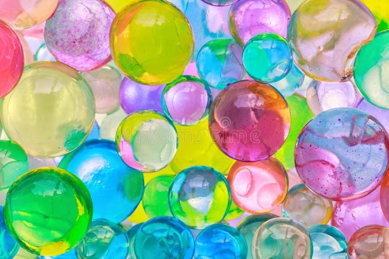 上色球,色的聚合物胶凝体,水凝胶小珠背景,克洛 图库摄影