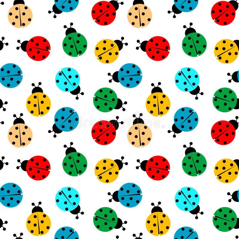 上色瓢虫模式无缝 库存例证