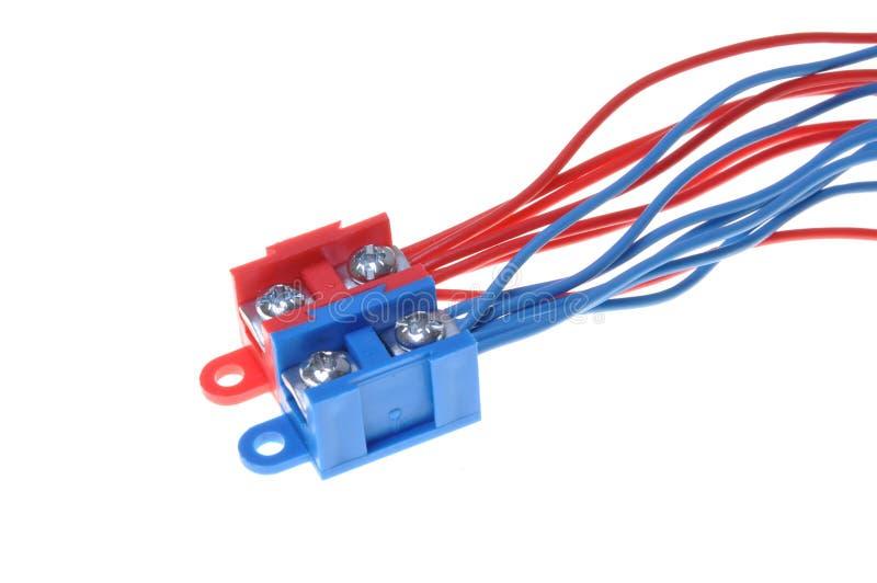 上色电力与接线盒的配电电缆 库存图片