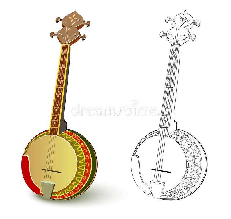 上色的五颜六色和黑白样式 伙计被串起的乐器班卓琵琶的例证 向量例证