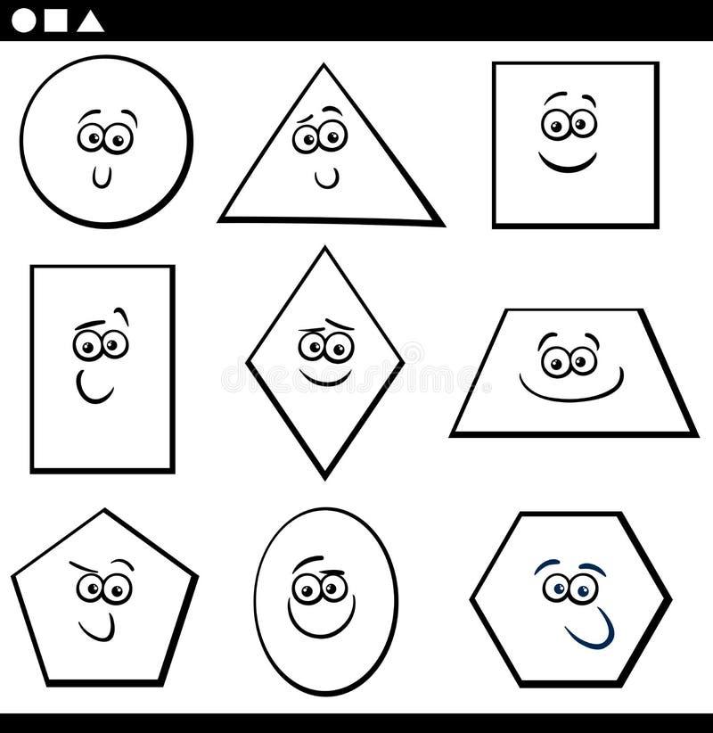 上色的基本的几何形状 库存例证
