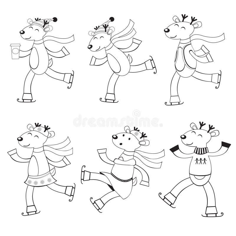 上色的滑冰的鹿 皇族释放例证
