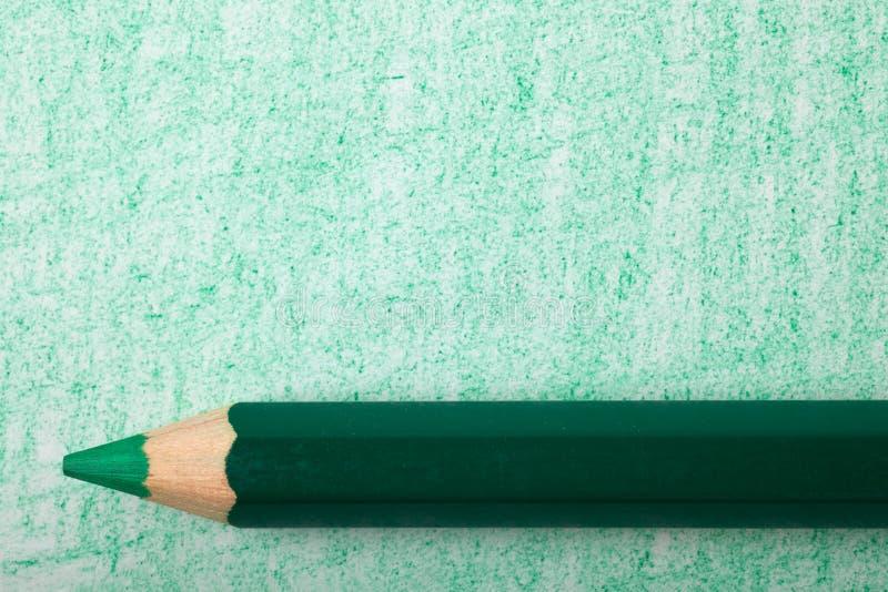 上色着色绿色铅笔 免版税库存照片