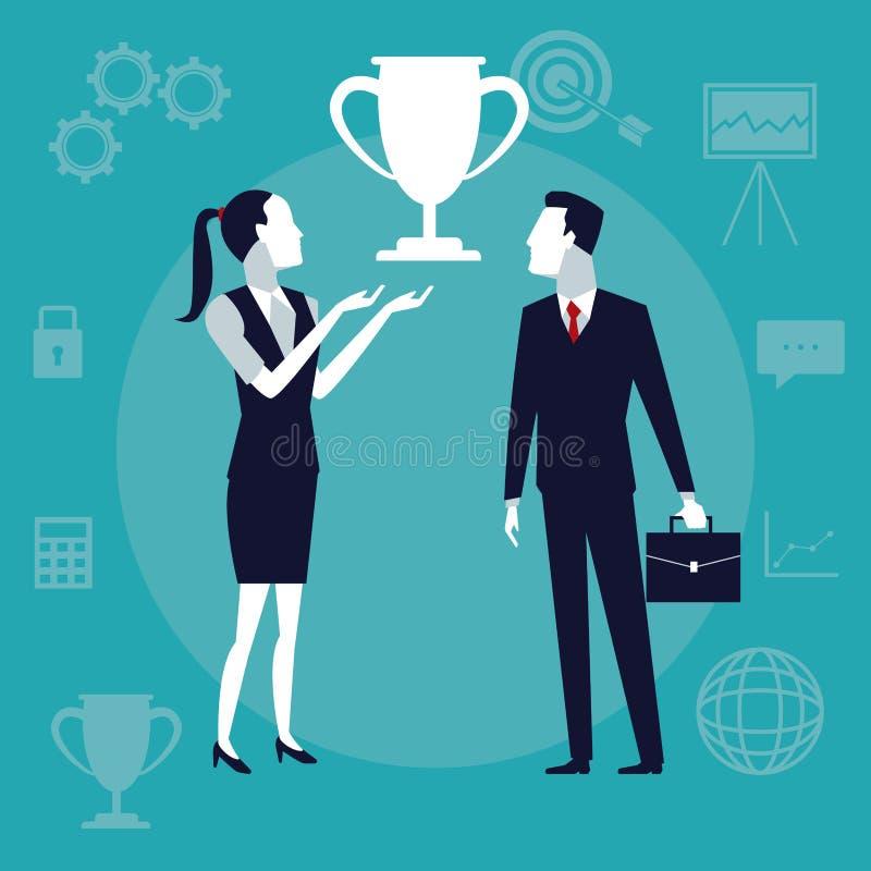 上色背景与行政加上的企业成长标志杯子战利品 库存例证