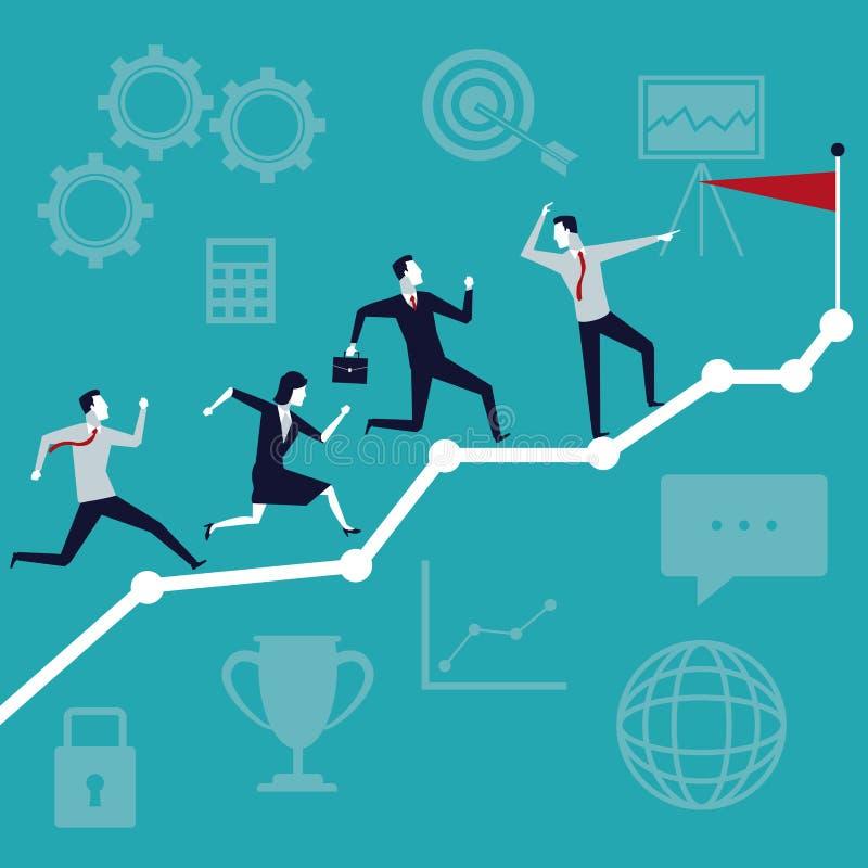 上色背景与跑行政的队的企业成长冠上旗子 向量例证
