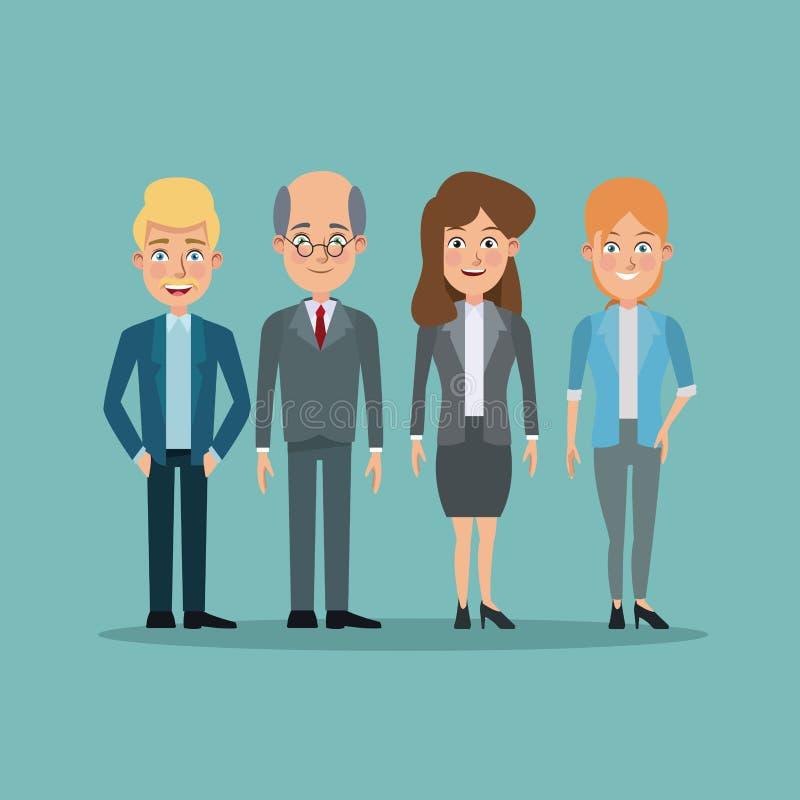 上色背景充分的身体对少妇和年长人董事 库存例证