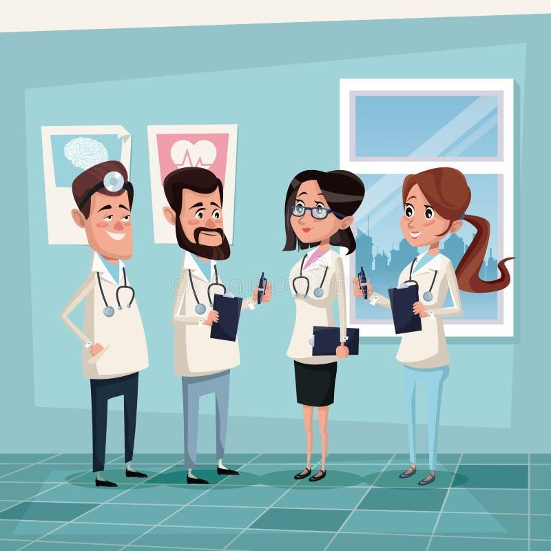 上色背景有医院医护人员队医生的医房 库存例证