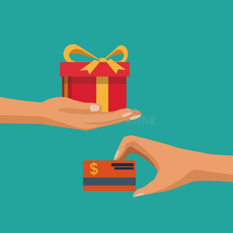 上色背景用拿着礼物和信用卡的手 库存例证