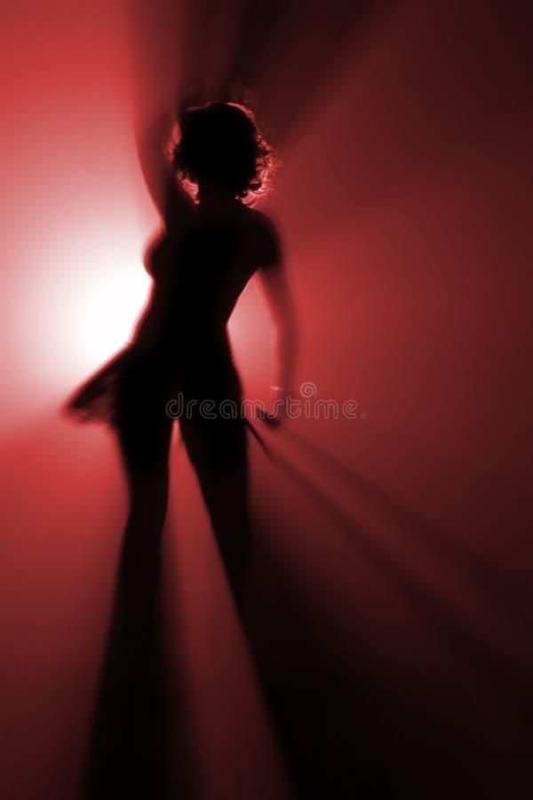 上色舞蹈演员迪斯科红色 免版税图库摄影