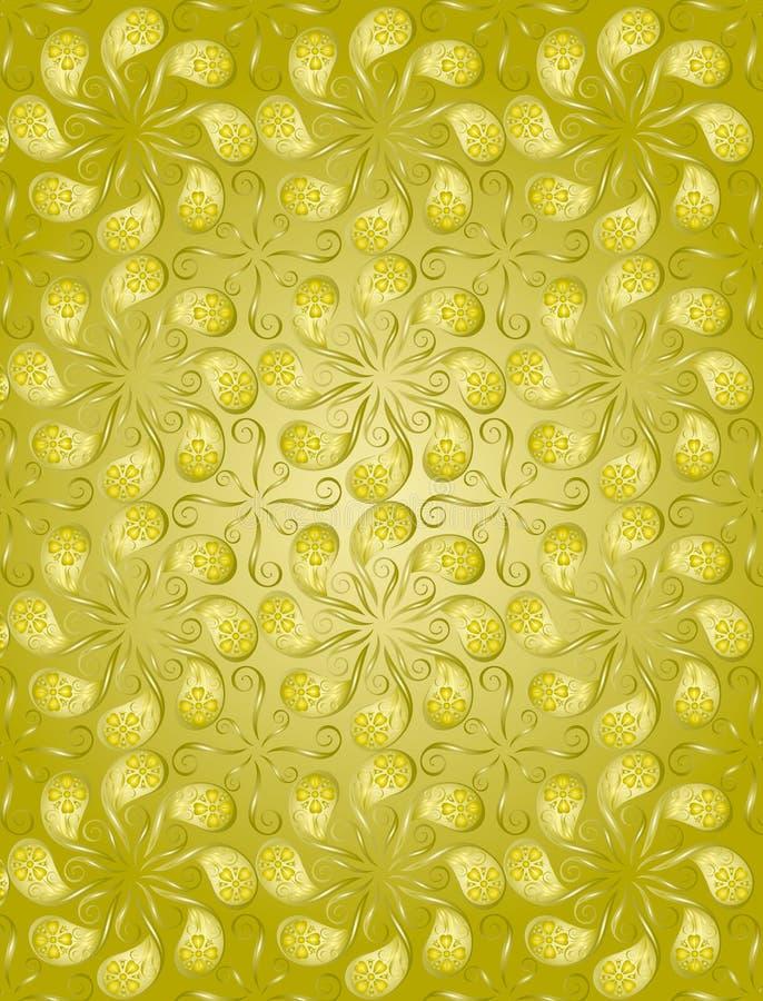 上色花卉金黄模式 库存照片