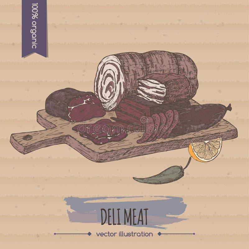 上色葡萄酒熟食店肉盛肉盘模板被安置在纸板背景 向量例证