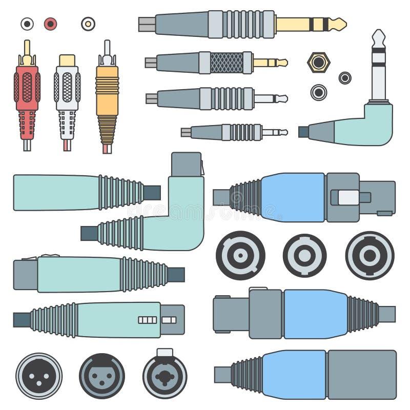 上色被设置的概述各种各样的音频连接器和输入 皇族释放例证