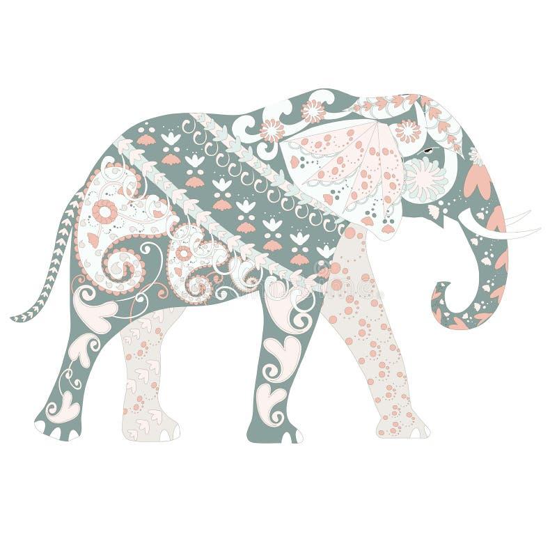 上色页和印刷品的手拉的装饰五颜六色的动画片大象 皇族释放例证