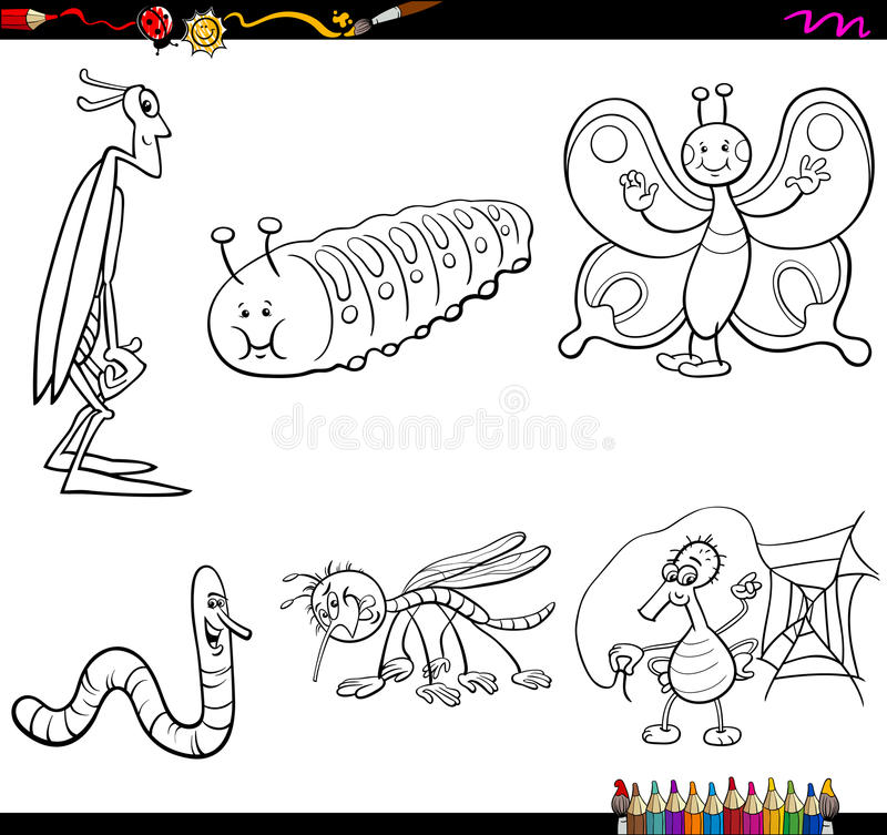插画 包括有 蚊子, 艺术, 蠕虫, 收集, 钉书匠, 蚯蚓, 图画, 蝴蝶