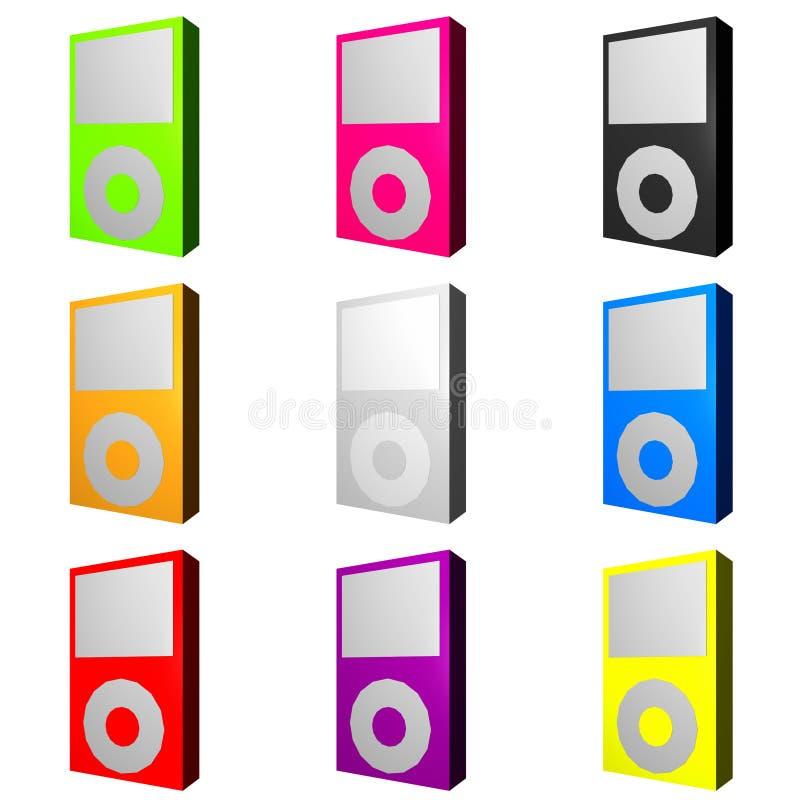 上色MP3播放器时髦多种 皇族释放例证