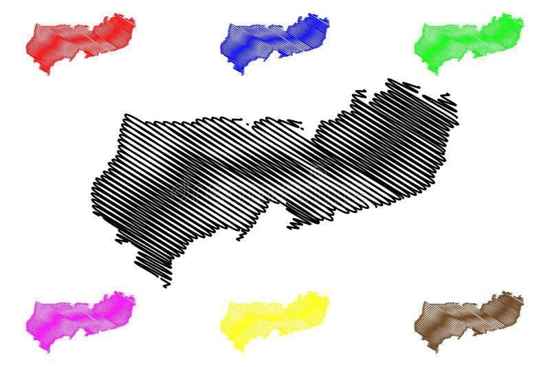上部东部加纳,加纳共和国的地区管理部门地图传染媒介例证,杂文剪影上部东部地图 向量例证