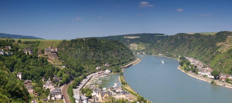 上部中间莱茵河谷的全景在圣Goar附近的 免版税库存照片
