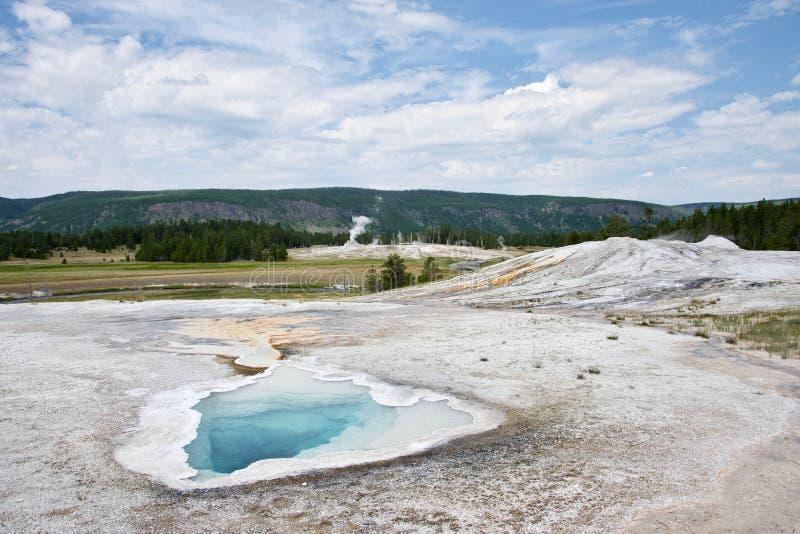 上部喷泉水池老忠实的区域 库存照片