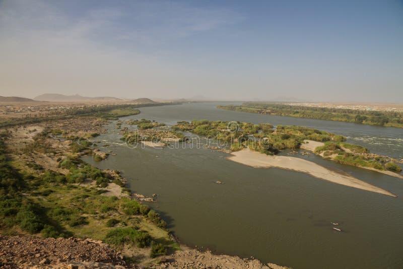 上部尼罗大瀑布在苏丹 免版税库存照片