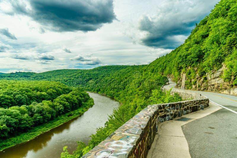 上部特拉华河通过一个绿色森林,纽约弯曲 免版税图库摄影