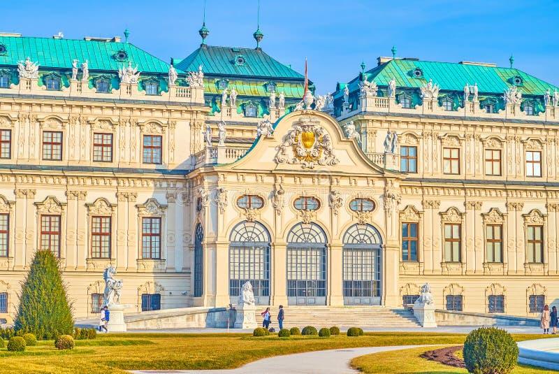 上部贝尔维德雷宫,维也纳,奥地利的主要门廊 免版税库存图片