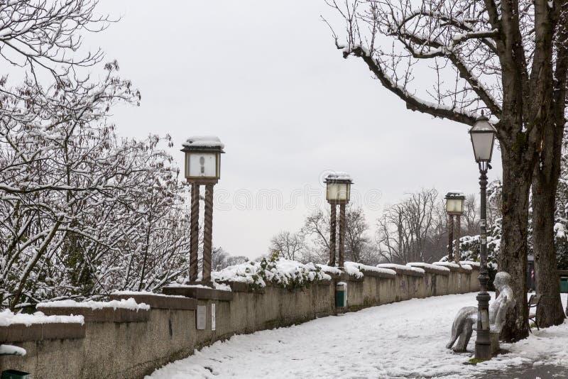 上部镇在萨格勒布,克罗地亚 免版税库存照片