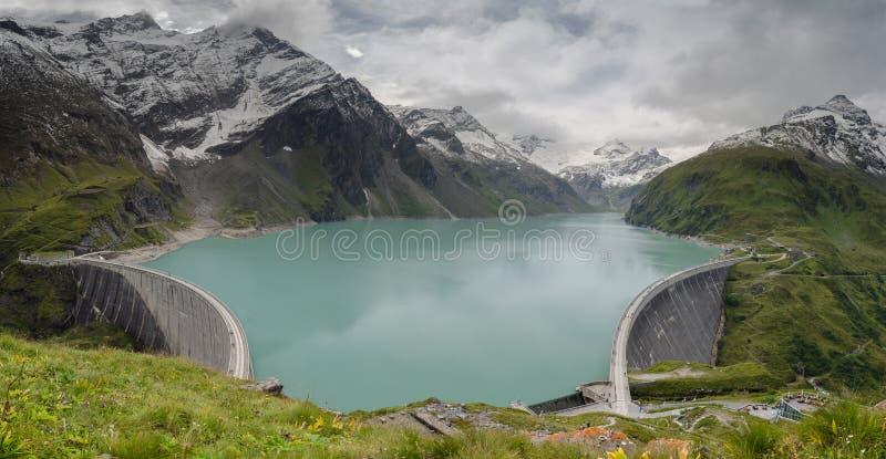 上部Kaprun水坝1, Stauseen,奥地利全景  图库摄影