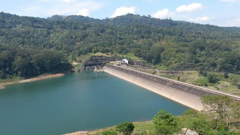 上部kotmale水坝在斯里兰卡 免版税库存照片