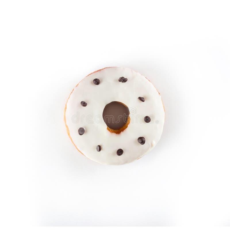 上釉圆环,在白色背景的顶视图,被隔绝 库存照片