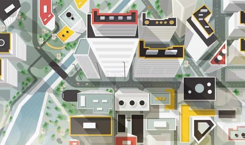 上面、天线或者鸟s城市眼睛视图有现代建筑学、摩天大楼、街道、河和桥梁大厦的  皇族释放例证