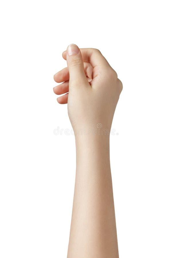 从上面举行某事的女性青少年的手 免版税图库摄影