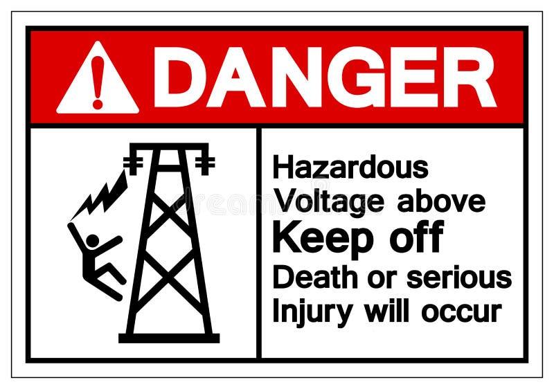 上面危险危害电压把死亡关在外面或严重的伤害将发生标志标志,传染媒介例证,在白色的孤立 向量例证