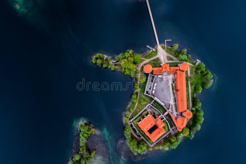上面参观了立陶宛地方,特拉凯,空中照片 免版税图库摄影