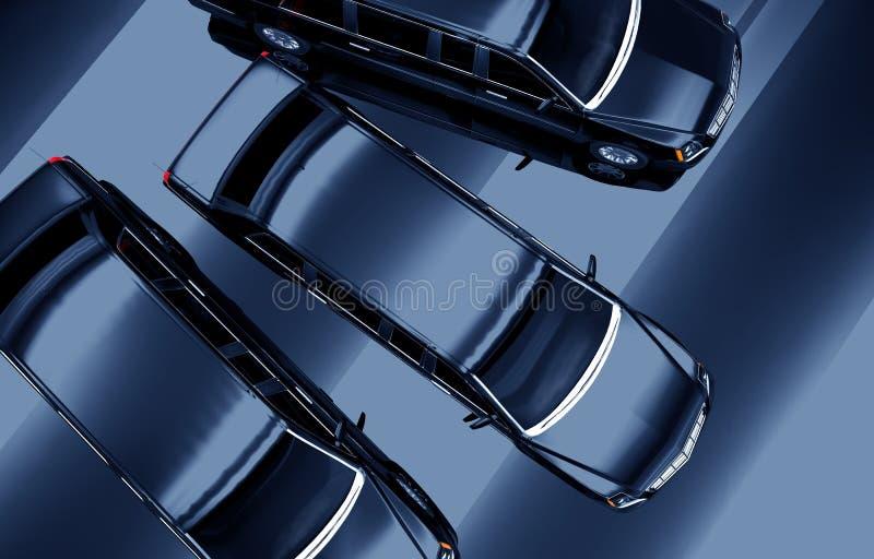 从上面的三辆大型高级轿车 库存例证